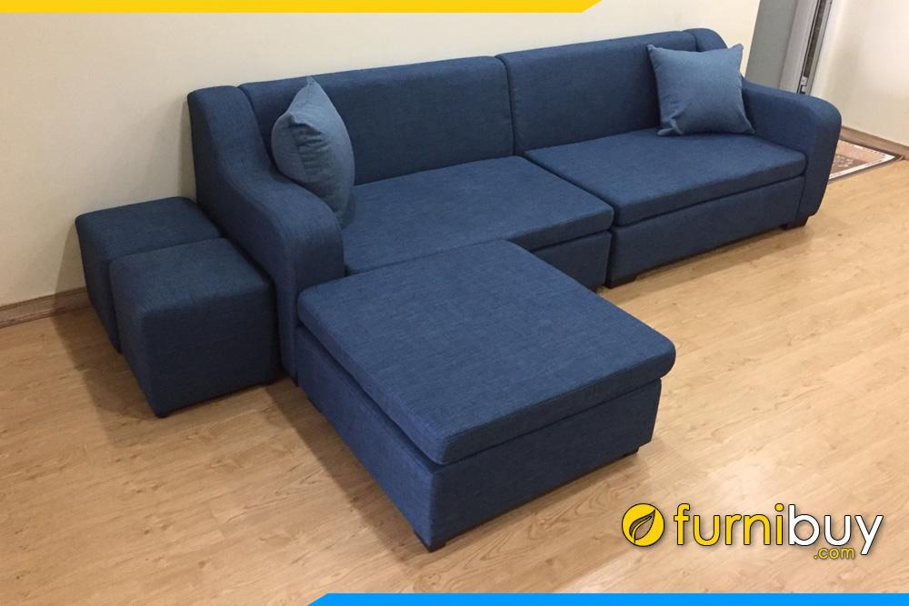 sofa vang 4 cho ngoi kem don lon mau xanh
