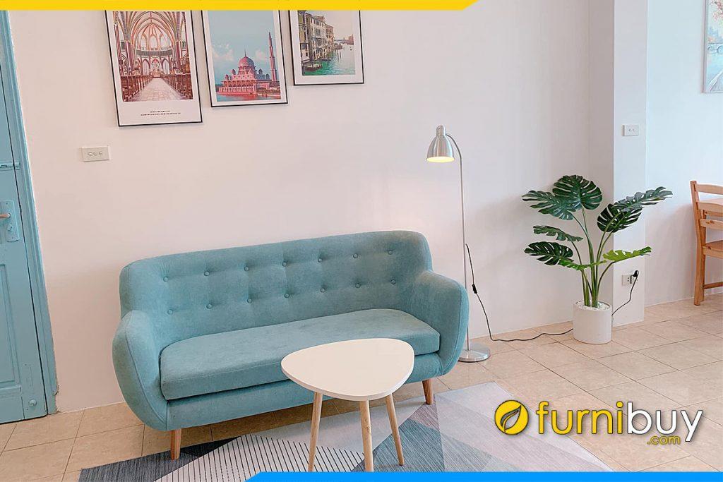 sofa bang ni mau xanh pastel ke phong khach chung cu