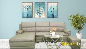 Ghế Sofa da màu ghi tựa lưng nhiều lớp giá rẻ FB290802