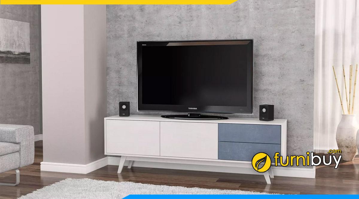 Hình ảnh Kệ tivi màu trắng phòng khách đẹp hiện đại