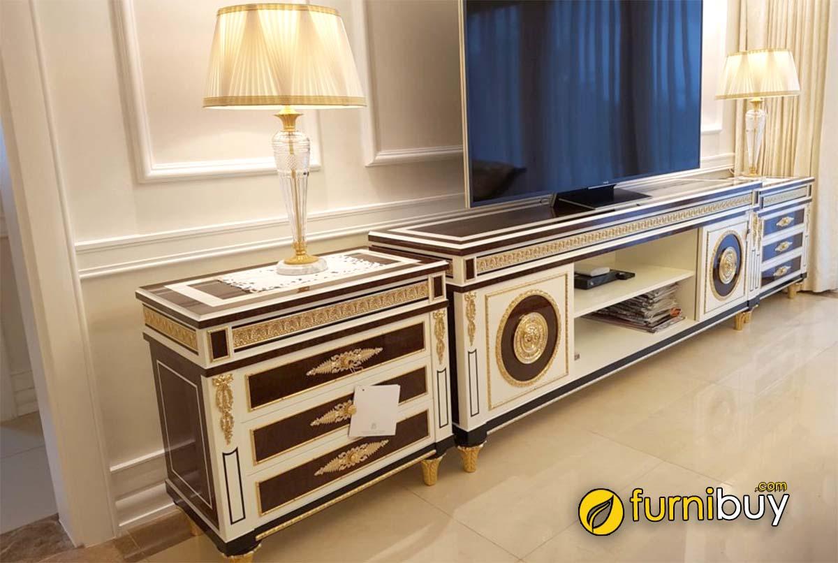 Hình ảnh kệ tivi phòng khách tân cổ điển phong cách Pháp