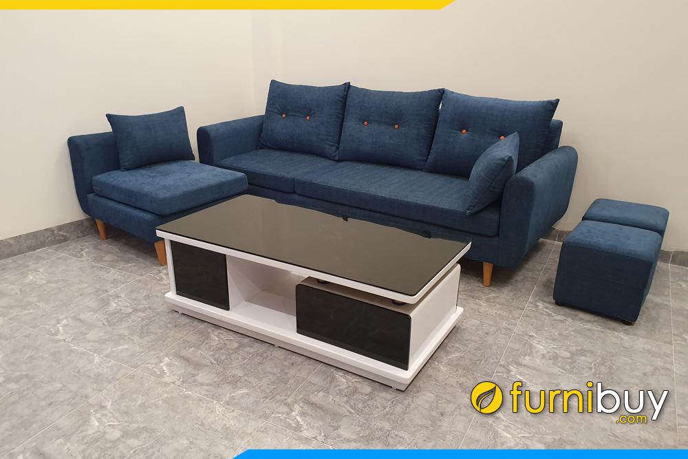 ghe sofa 3 cho ngoi boc ni mau xanh