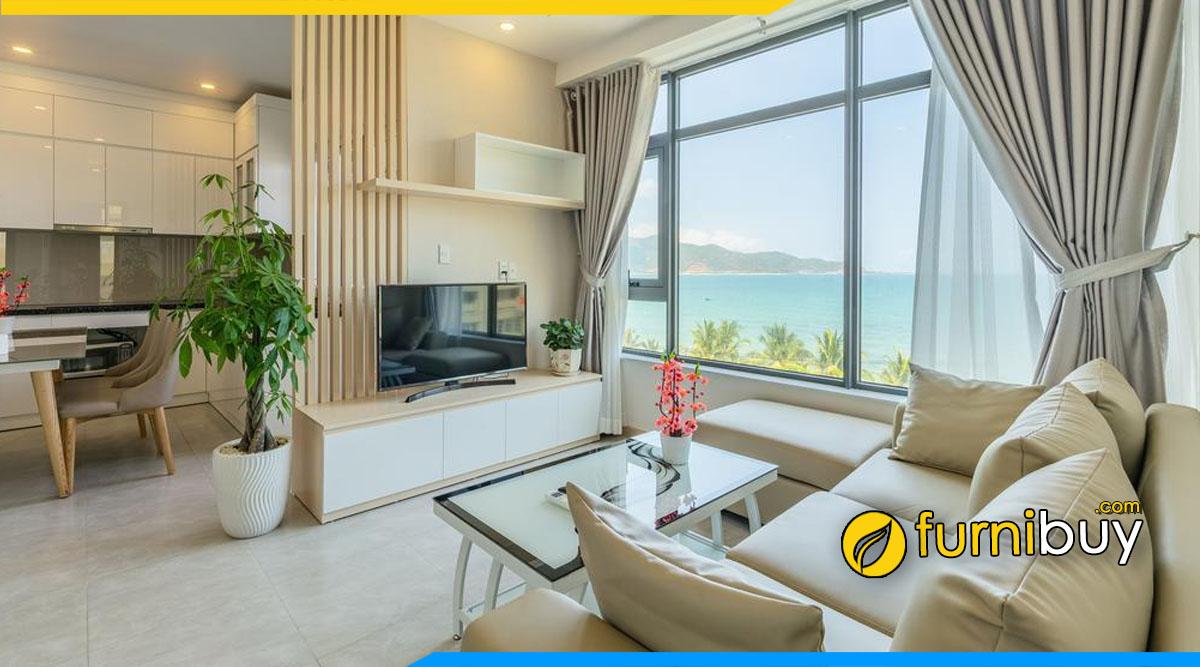Hình ảnh Mẫu kệ tivi chung cư nhỏ đẹp kết hợp cùng nội thất bàn trà, ghế sofa