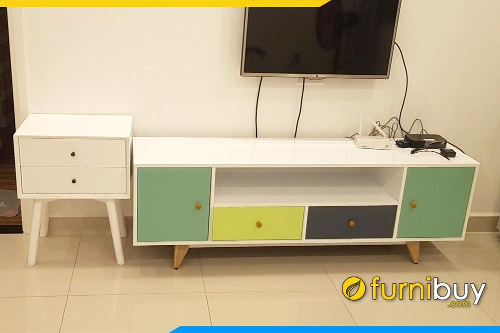 Hình ảnh Bộ kệ tivi đơn giản phòng khách đẹp FBK010 hiện đại