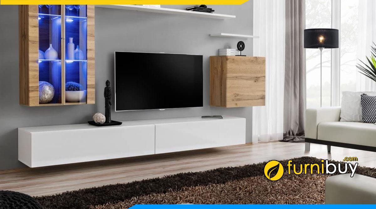 Hình ảnh Mẫu kệ tivi màu trắng treo tường đơn giản phòng khách