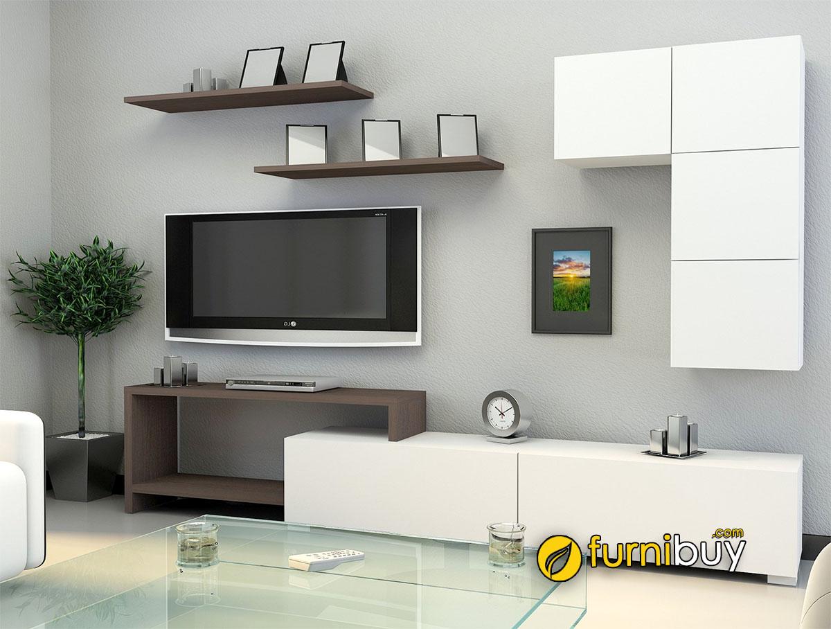 Mẫu kệ tivi phòng khách đa năng kết hợp trang trí