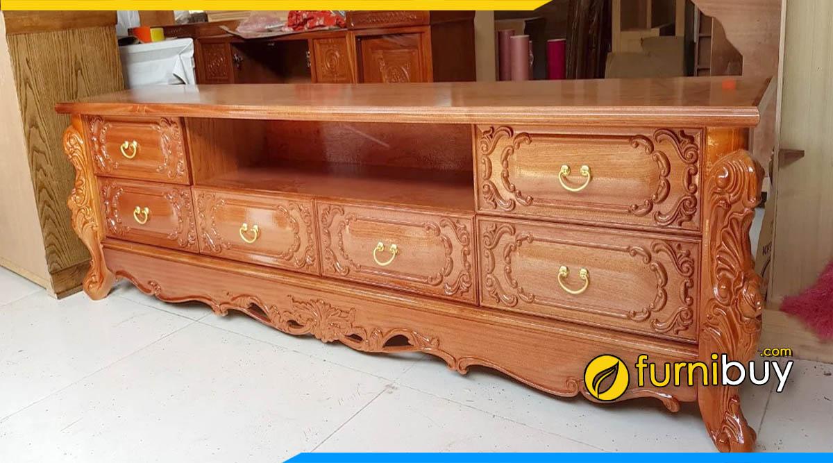 Hình ảnh mẫu kệ tivi phòng khách bằng gỗ xoan đào đẹp
