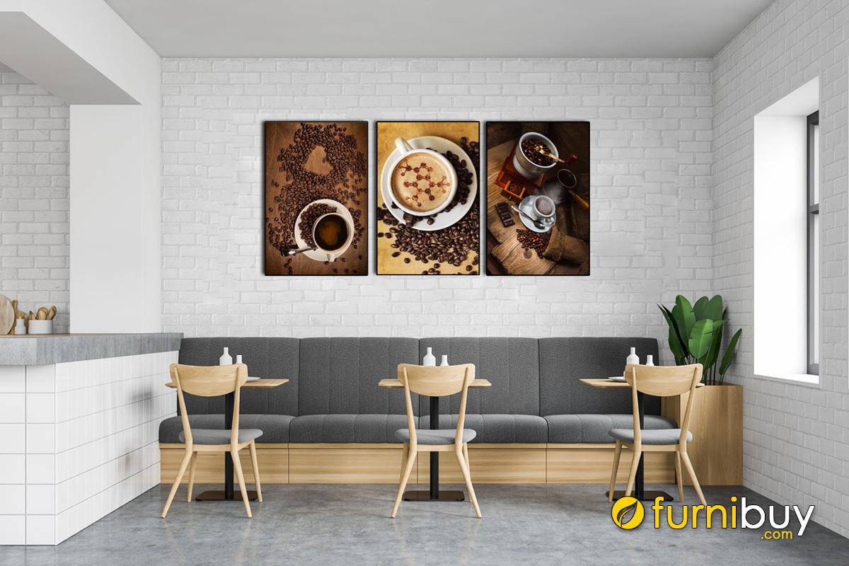Hình ảnh Mẫu tranh canvas cho quán cafe đẹp và sang trọng