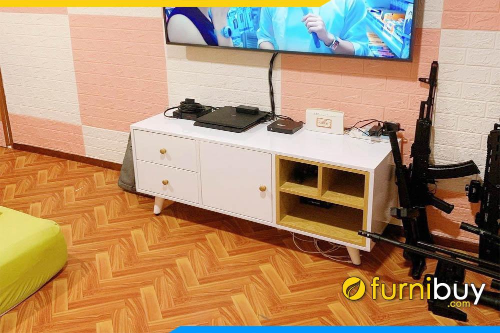 Mẫu tủ tivi gỗ phòng khách chung cư đẹp FBK014