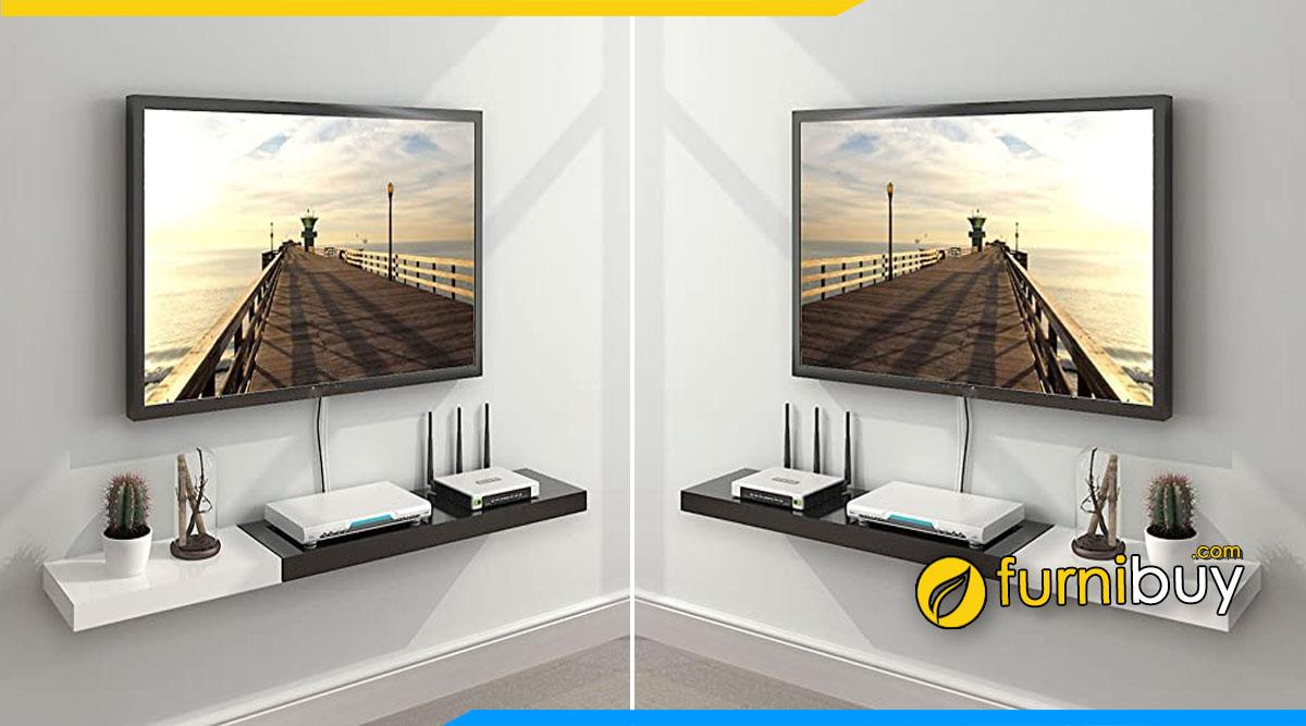 Hình ảnh Kệ tivi đẹp treo tường phòng khách 1 tấm gỗ