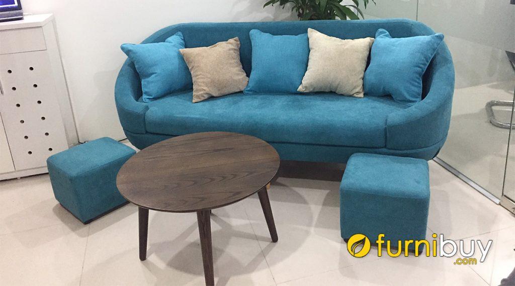 sofa vang ni mau xanh da troi ke phong khach