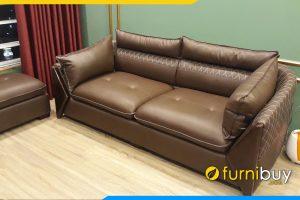 sofa vang phong khach boc da mau nau
