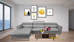Bộ ghế sofa phòng khách chữ L đẹp, màu ghi FB310801