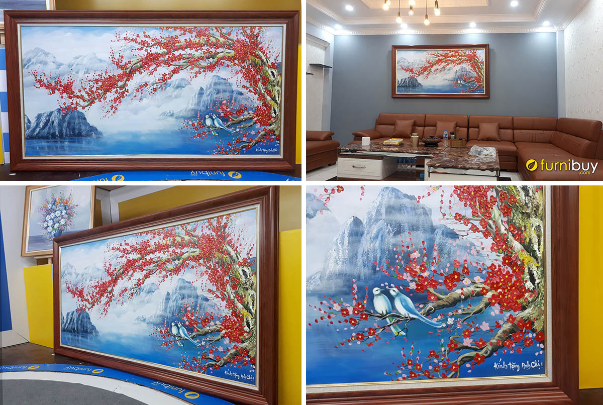 Hình ảnh Bức tranh cành đào đặt làm quà mừng tân gia nhà mới tại Furnibuy