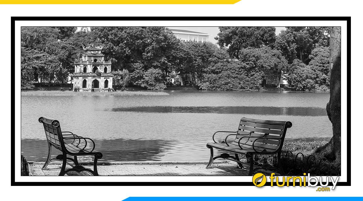 Hình ảnh tranh canvas đen trắng Hà Nội