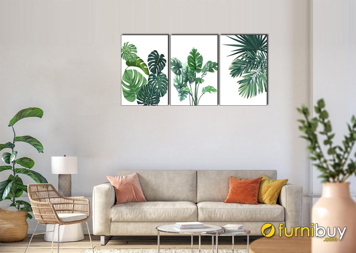 Hình ảnh Tranh canvas tropical hình ảnh lá cây mã 1701