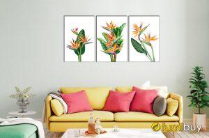 Hình ảnh Tranh hoa thiên điểu treo tường ghép bộ 3 tấm mã 1691