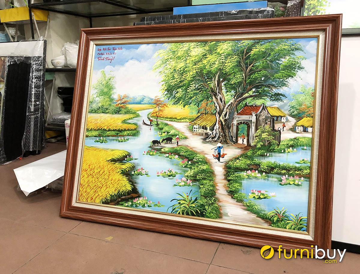 Hình ảnh Tranh làng quê Việt Nam vẽ sơn dầu mừng ngày 20-11 thầy cô