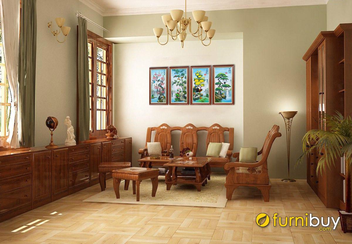 Hình ảnh Bộ tranh tứ quý treo tường phòng khách nhà cấp 4 nông thôn