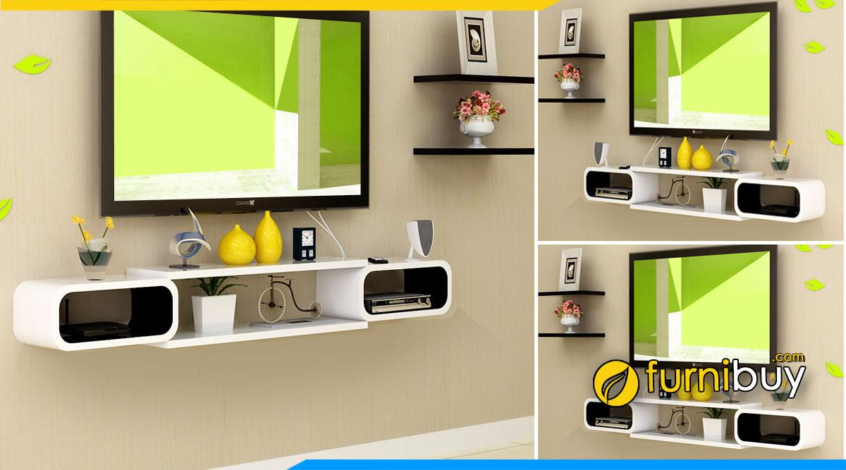 Tủ tivi phòng khách hiện đại treo tường kết hợp ngăn nhỏ