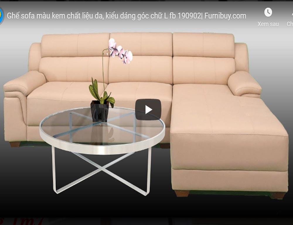 Sofa góc chữ L màu kem FB190902