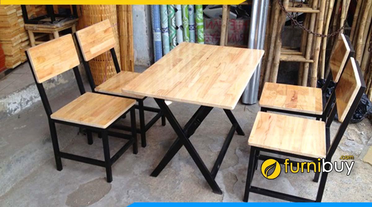 Bộ bàn ăn gỗ cao su cho quán ăn vặt giá rẻ