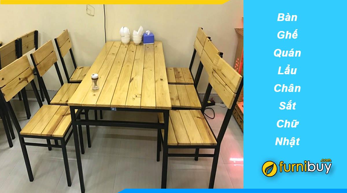 Setup bàn ghế ăn lẩu nướng chân sắt mặt gỗ cho nhà hàng