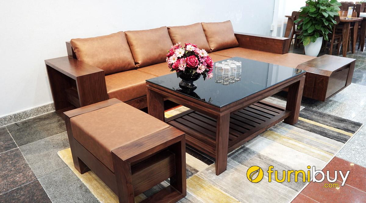 bộ ghế sofa gỗ óc chó đẹp góc chữ L cao cấp