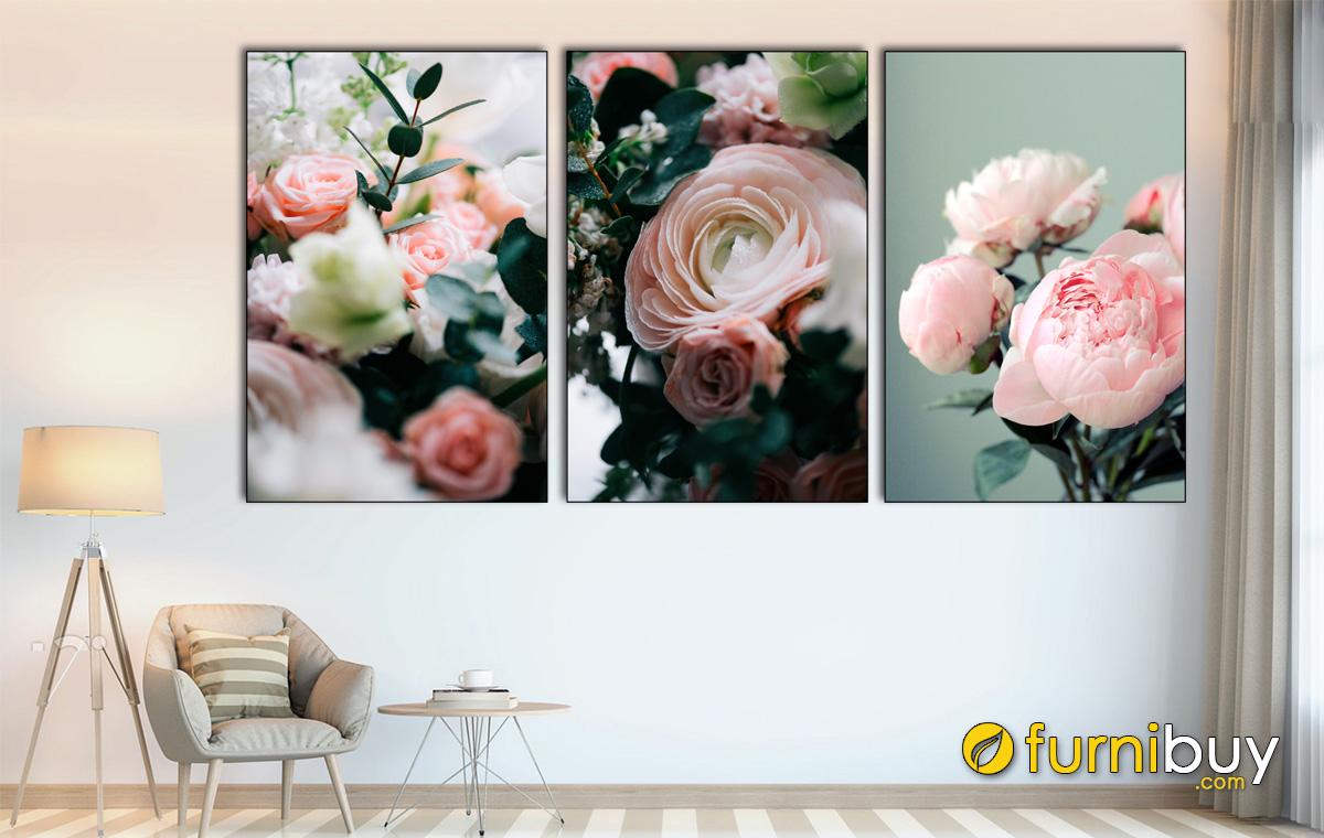 Hình ảnh Bộ tranh hoa mẫu đơn treo tường ghép bộ 3 tấm