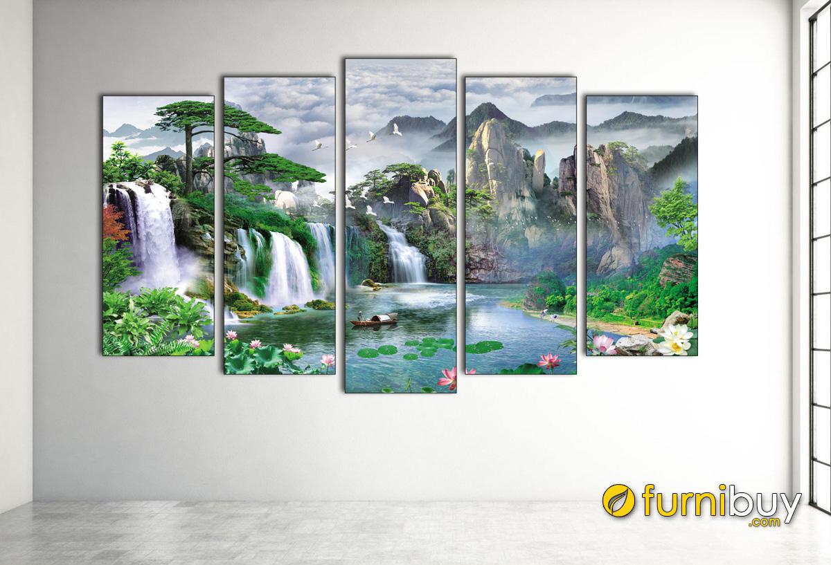 Hình ảnh Bộ tranh in ép gỗ sơn thủy hữu tình treo tường hiện đại