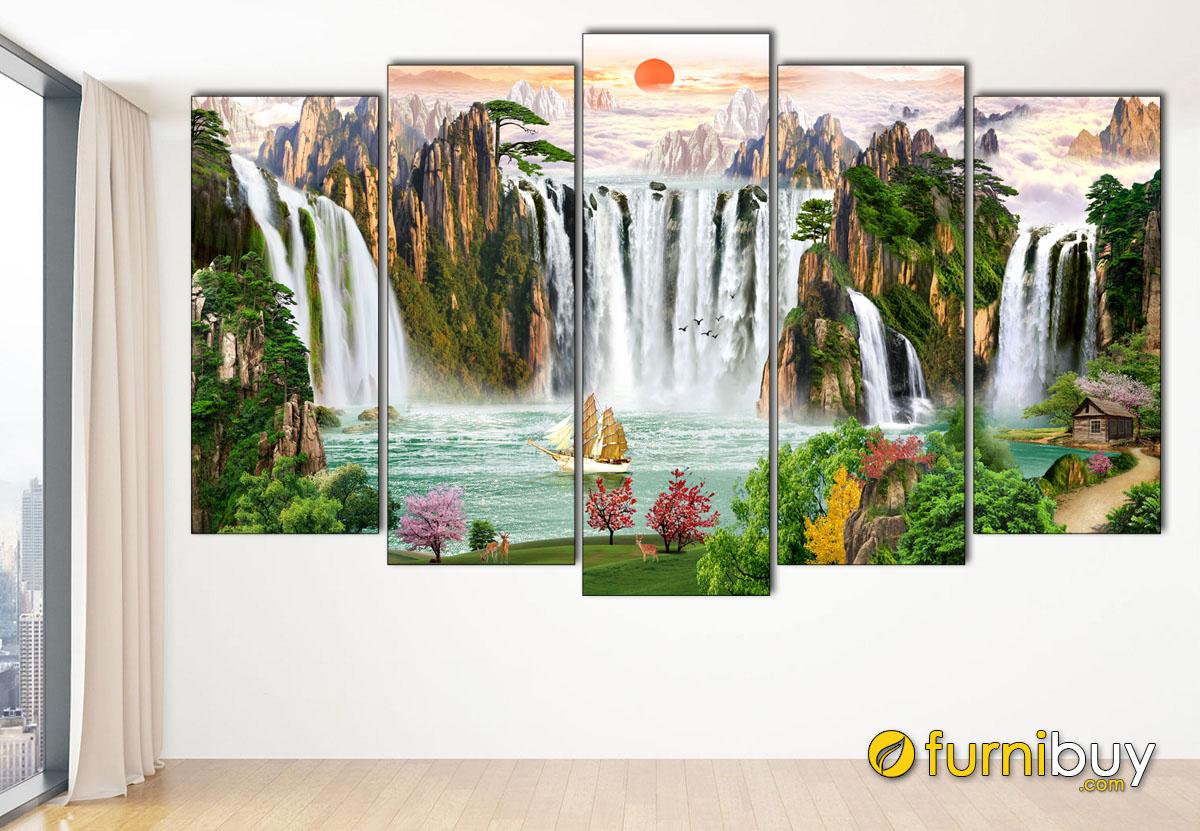 Hình ảnh Bộ tranh sơn thủy hữu tình 5 tấm ghép bộ in ép gỗ