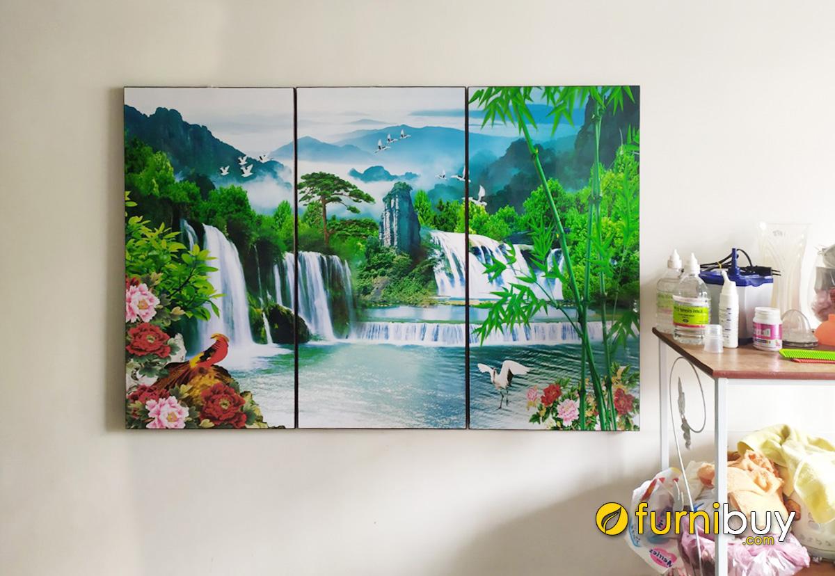 Hình ảnh Bộ tranh sơn thủy hữu tình đẹp ghép bộ 3 tấm in ép gỗ