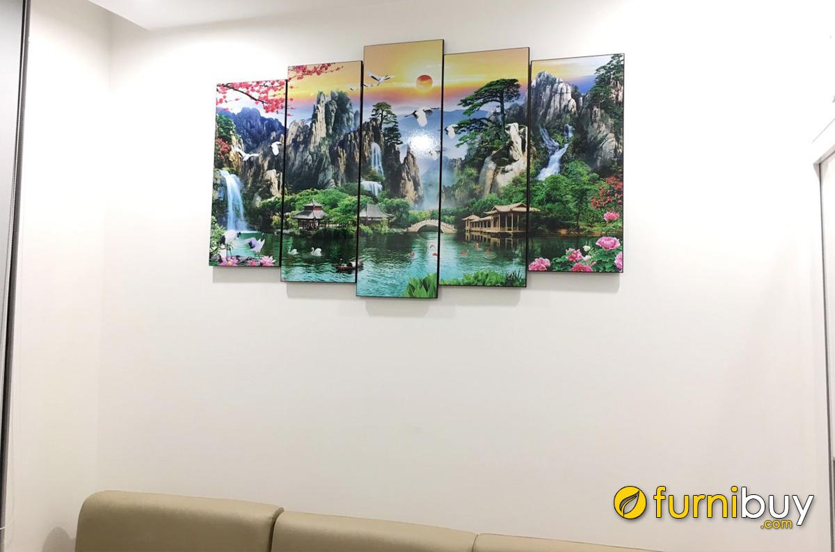 Hình ảnh Bộ tranh sơn thủy hữu tình ghép bộ 5 tấm in ép gỗ