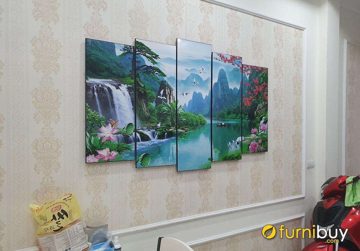 Hình ảnh Bộ tranh treo tường sơn thủy hữu tình ghép bộ 5 tấm đẹp