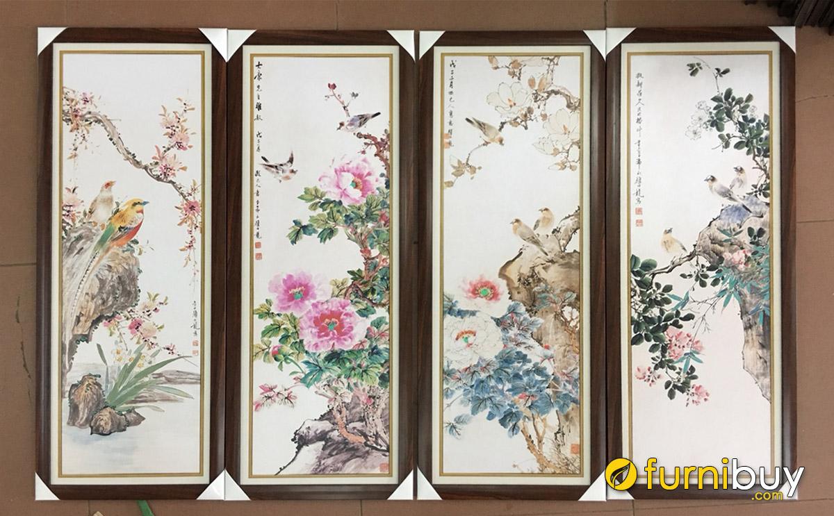 Hình ảnh Bộ tranh tứ quý treo tường đẹp sang trọng