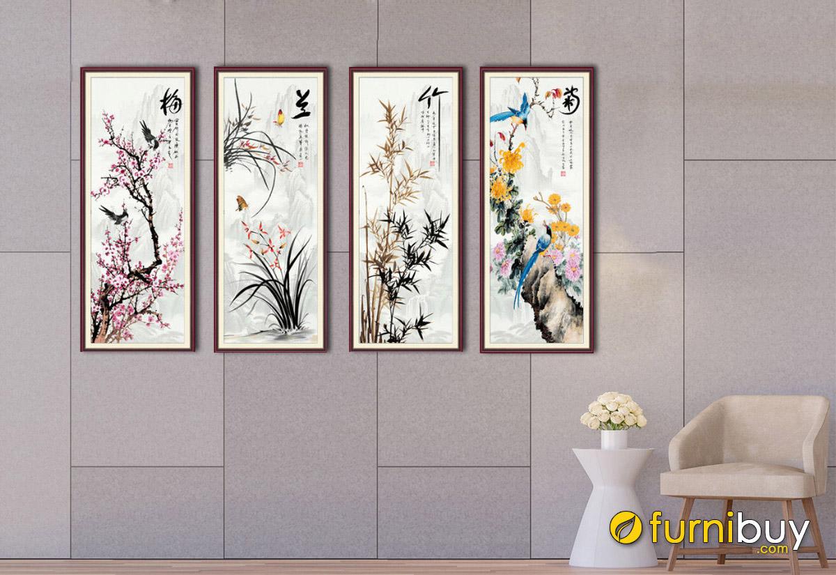 Hình ảnh Bộ tranh tứ quý treo tường đẹp ý nghĩa phong thủy tốt lành