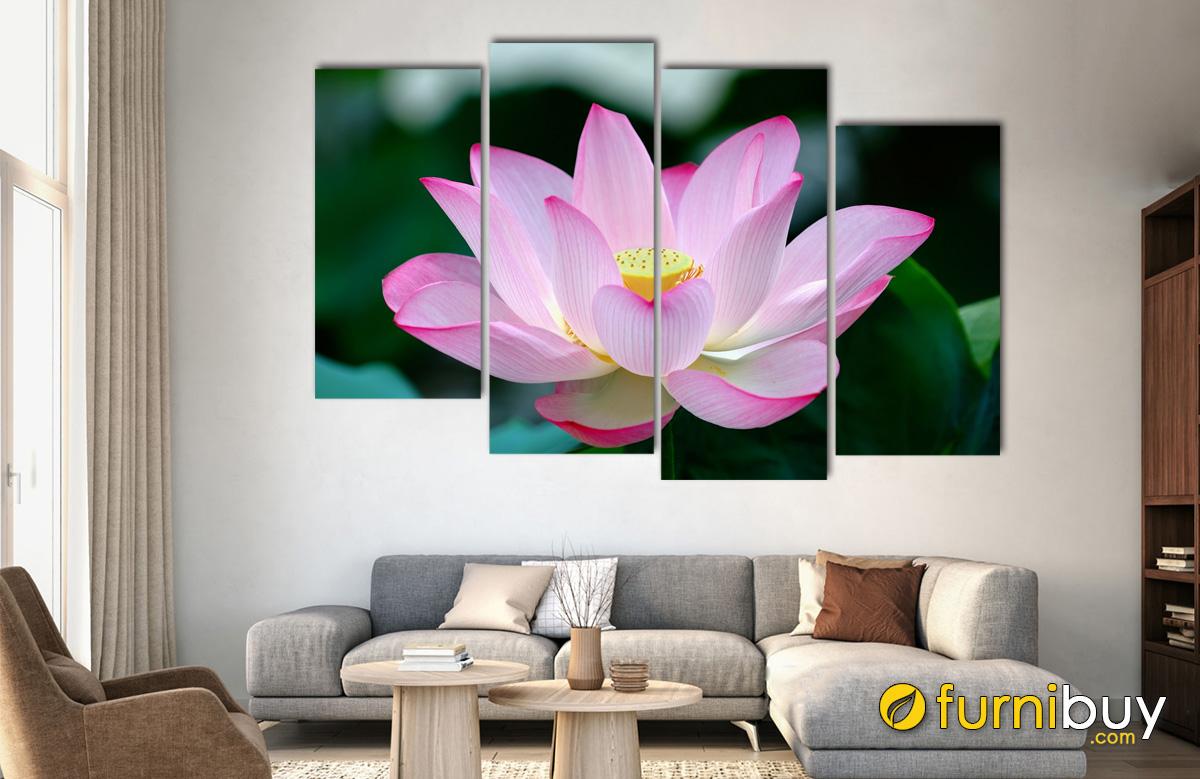 Hình ảnh Tranh bông sen màu hồng đẹp tuyệt vời
