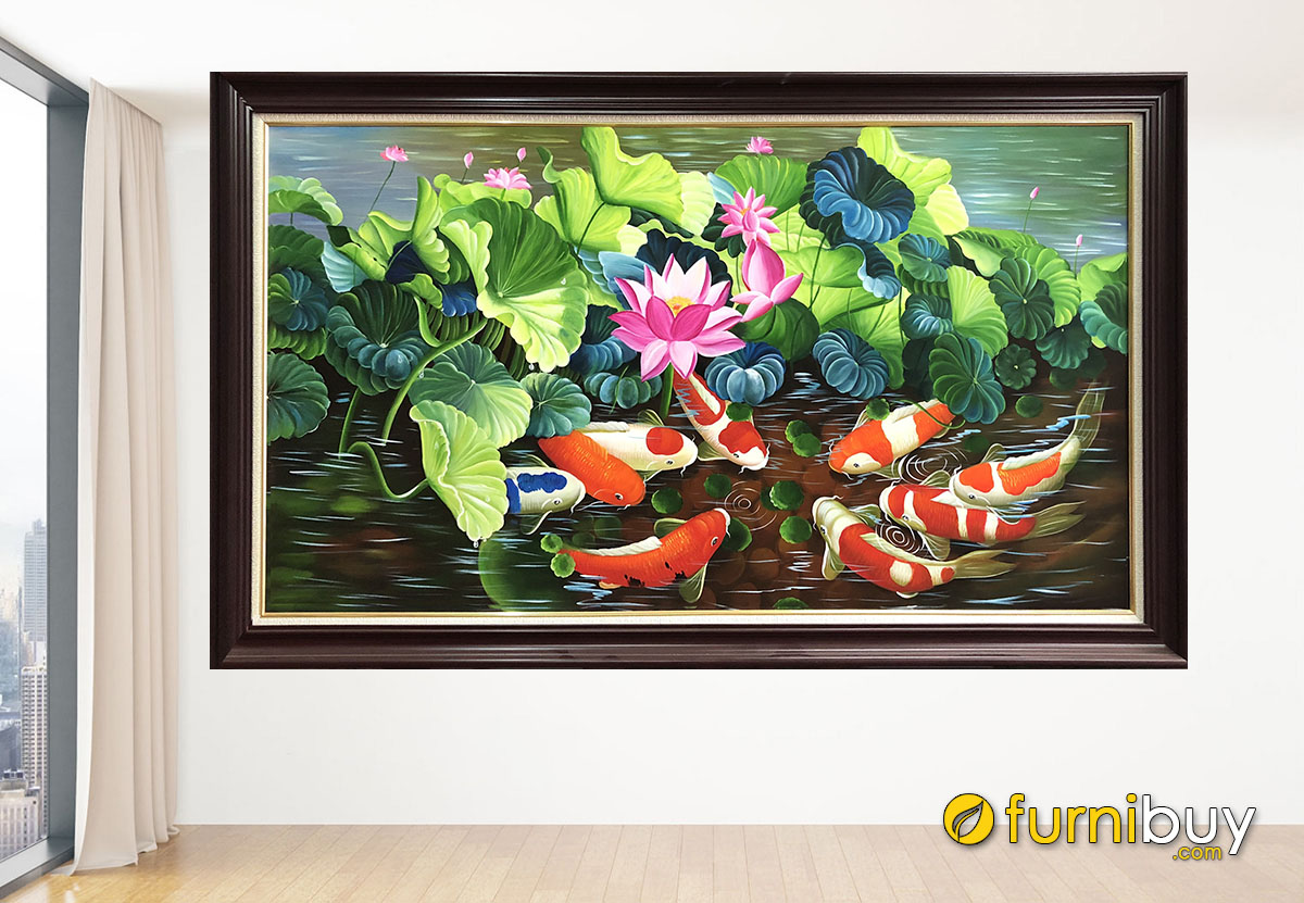 Hình ảnh Bức tranh cá chép hoa sen vẽ sơn dầu treo tường đẹp