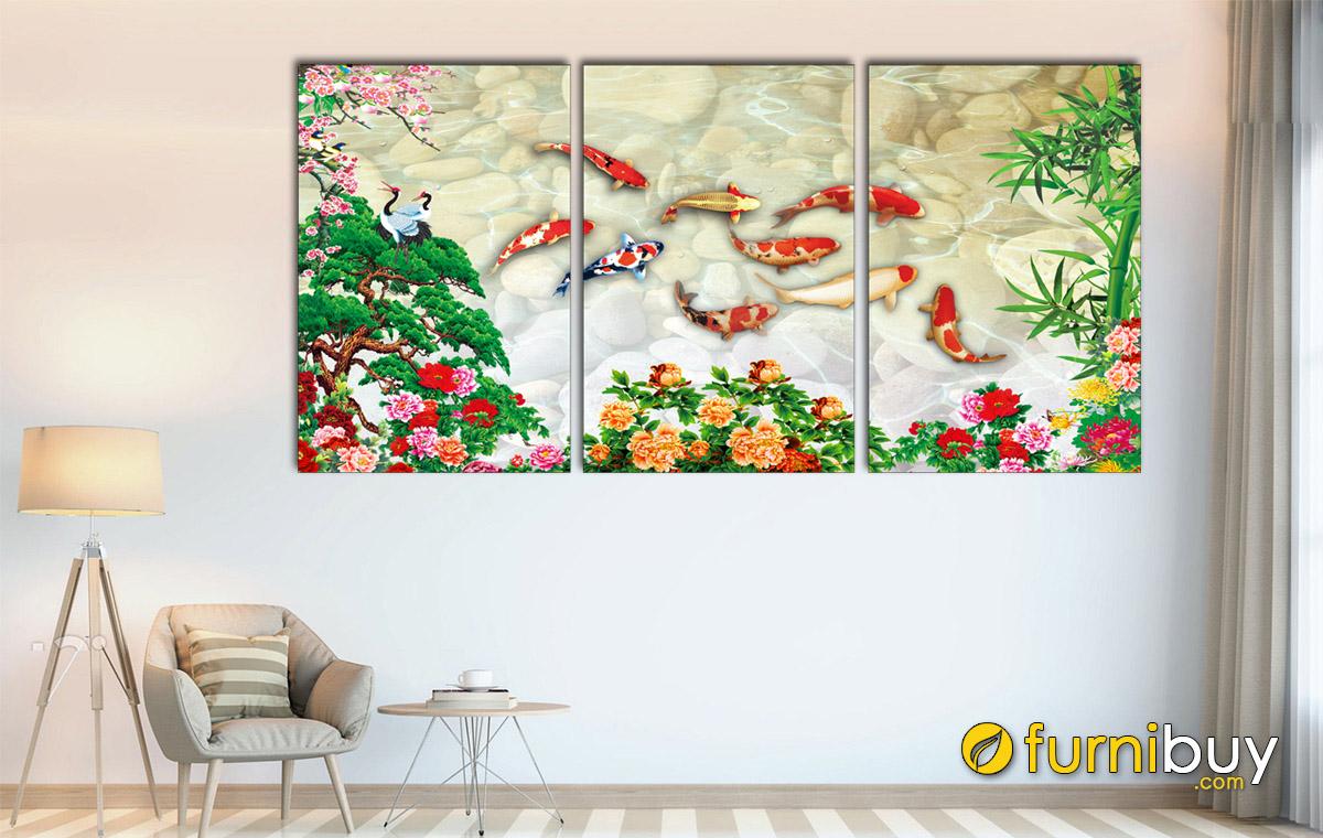 Hình ảnh Bức tranh cửu ngư quần hội treo tường đẹp in ép gỗ