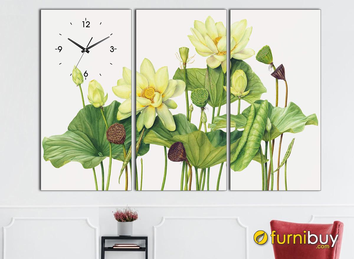 Hình ảnh Bức tranh những bông hoa sen vàng treo tường đẹp ý nghĩa