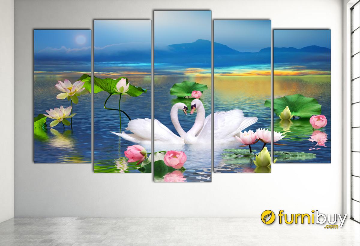 Hình ảnh Bức tranh những bông sen và thiên nga ghép bộ 5 tấm