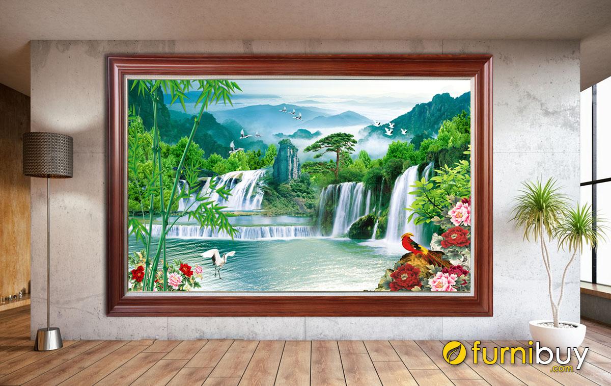 Hình ảnh Bức tranh sơn thủy hữu tình 1 tấm in ép gỗ hiện đại