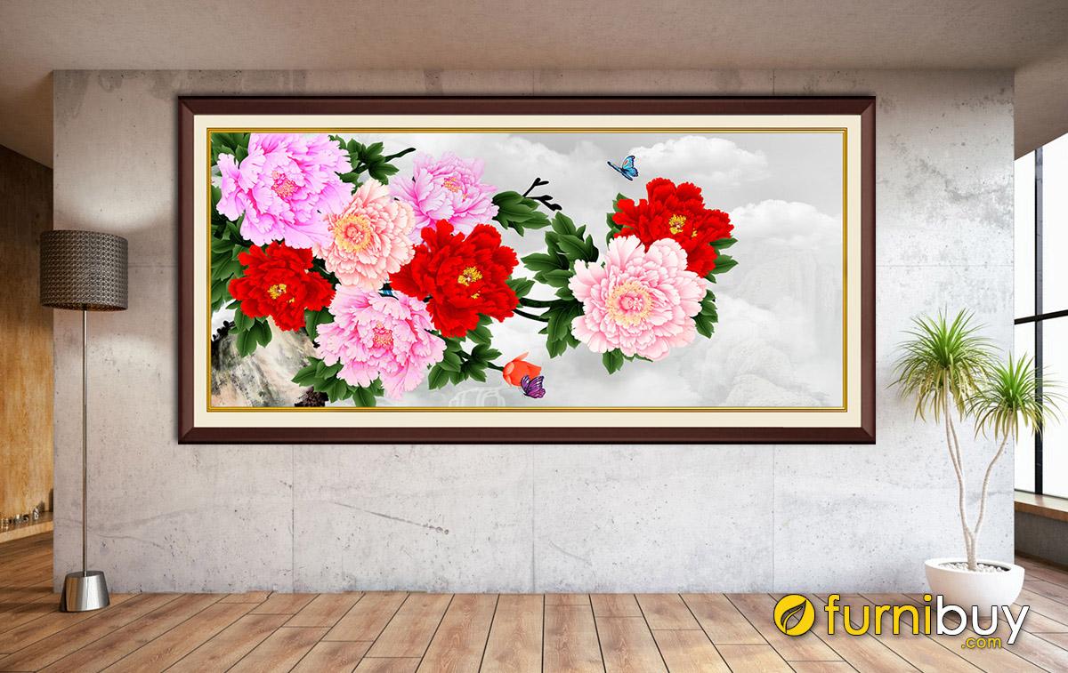 Hình ảnh Bức tranh treo tường mẫu đơn 1 tấm màu đỏ đẹp