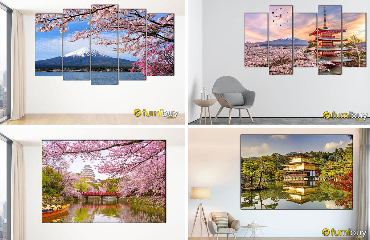 Hình ảnh Các mẫu tranh phong cảnh Nhật Bản treo tường đẹp sang trọng
