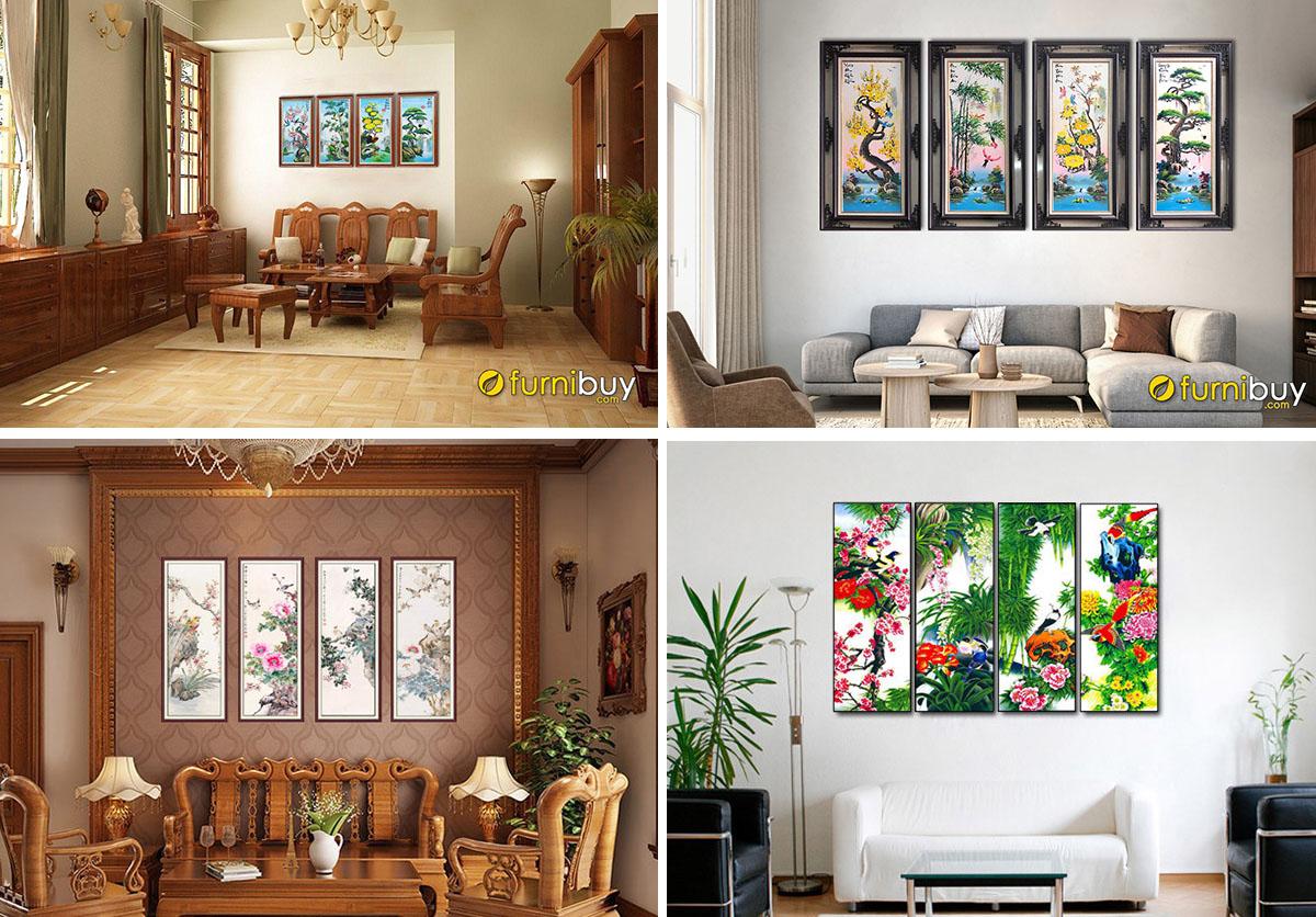Hình ảnh Các mẫu tranh treo tường tứ quý đẹp ý nghĩa phong thủy
