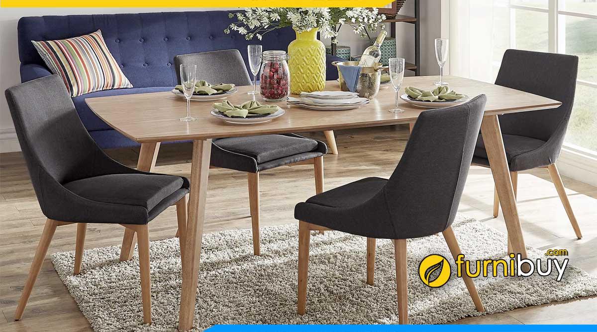 Hình ảnh Bàn ghế ăn phong cách scandinavian 4 ghế nệm nỉ đẹp