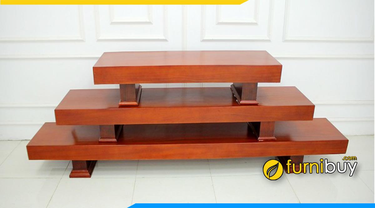 Ảnh Kệ tivi 3 tấm gỗ hương tự nhiên