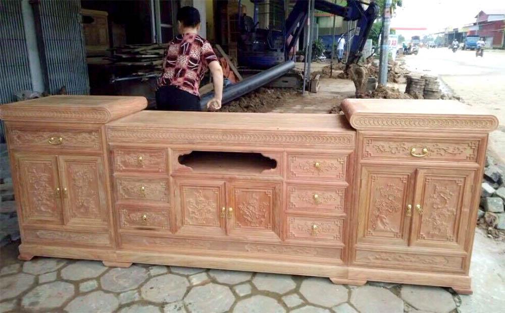Ảnh kệ tivi gỗ hương Lào