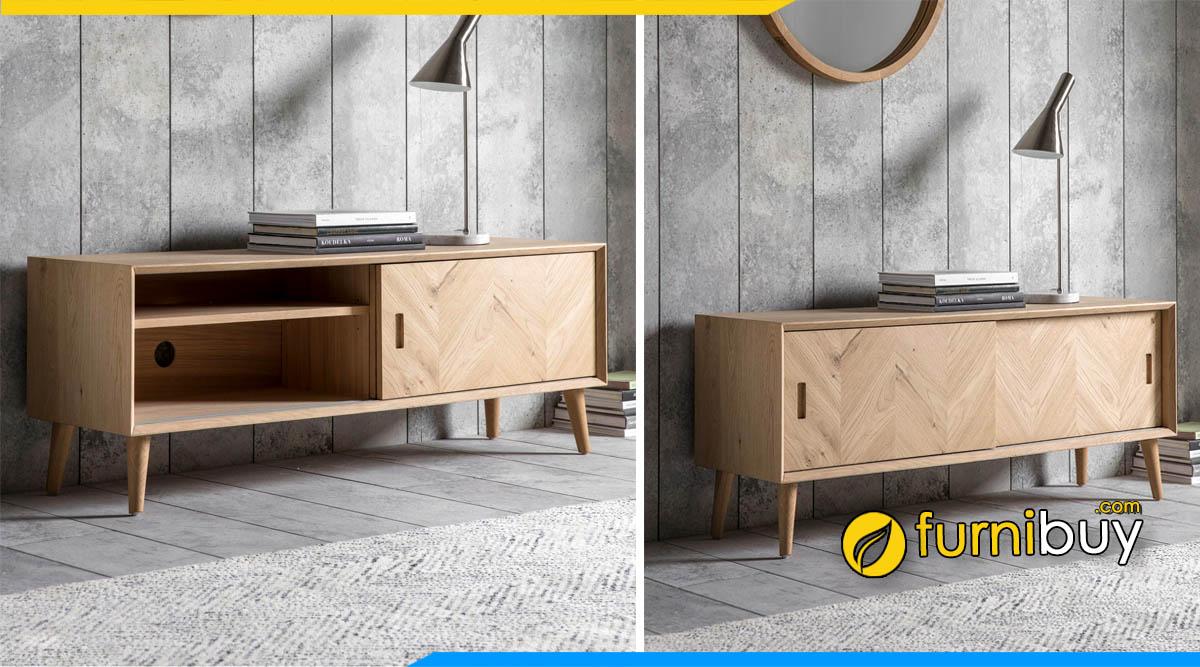Mẫu kệ tivi gỗ sồi phòng khách hiện đại kiểu đơn giản