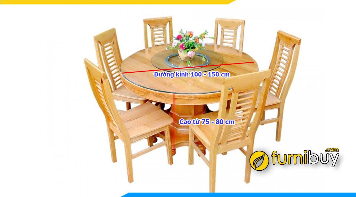 Ảnh Kích thước bàn ăn 6 người hình tròn chuẩn